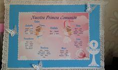 carteles de mesa primera comunión diseñado por mounstruocreativo