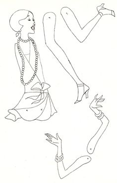 Flapper Girl black and white copy Auf marlendy.wordpress.com http://www.pinterest.com/cdlc1/paper-dolls-pantinsjumping-jacks/