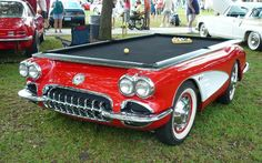 Every #gameroom needs one of these! Check out this 1959 #Corvette #pool #table & much more at CarFurniture.com! #car #furniture #mancave #billiards