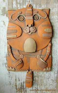 Cat Panel by Helena Miciajewa, fireclay red clay, acrylic Hand Built Pottery, Slab Pottery, Ceramic Pottery, Pottery Art, Ceramic Animals, Clay Animals, Ceramic Wall Art, Ceramic Clay, Clay Cats