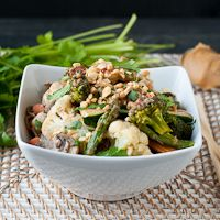 Vegetarian Udon Noodle Bowl with Spicy Peanut Sauce
