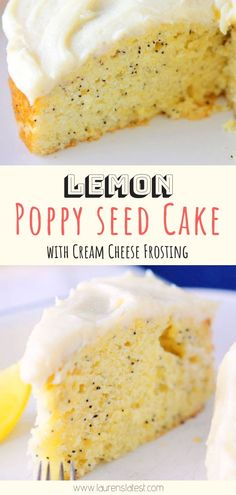 Lemon Poppyseed Cake with Cream Cheese Frosting is so light and fluffy. Perfectly lemony and perfect for spring or summer! Make it for Easter Brunch or Mother's Day Easter dessert Lemon Poppy Seed Cake with Cream Cheese Frosting Mini Desserts, Lemon Desserts, Easy Desserts, Delicious Desserts, Desserts Keto, Light Desserts, Summer Dessert Recipes, Easter Recipes, Recipes Dinner