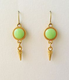 Avocado Green Earrings with Gold Stud Charms by CapriciousBijoux, ¥2400. Ships worldwide!
