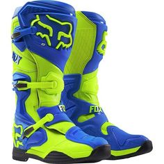 Fox Racing 2016 Comp 8 Men's Off-Road Motorcycle Boots – Blue/Yellow / Size 15 Dirt Bike Boots, Dirt Bike Gear, Mens Motorcycle Boots, Dirt Biking, Riding Gear, Riding Boots, Fox Motocross, Quad, Yellow Boots
