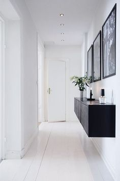 63 Inspiring Clever Hallway Storage Ideas: 63 Inspiring Clever Hallway Storage I. 63 Inspiring Clever Hallway Storage Ideas: 63 Inspiring Clever Hallway Storage Ideas With White Wall Wooden Door Black Storage Plant Decor Lamp Hardwood Floor Hallway Inspiration, Interior Inspiration, Interior Ideas, Design Inspiration, Style At Home, Floating Cabinets, Floating Table, Wall Cabinets, Cupboards
