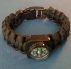A paracord bracelet made with a compass attached, by Paracordable.