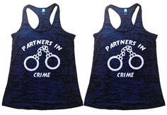 Shirts By Sarah Women's Best Friend Tank Tops Partners In Crime Handcuffs Shirts