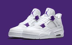 Jordan 4 Metallic Pack Which Color Is Best? 🌈 Cop or Drop⁉️ Comment Below 👇🏽👇🏽👇🏽 Purple Sneakers, Cute Sneakers, Shoes Sneakers, Purple Shoes, Purple Rain, Jordan Shoes Girls, Air Jordan Shoes, Michael Jordan Shoes, Jordan 4