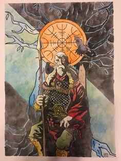 ") ""Odin - The Allfather Water Color Viking Art, Viking Symbols, Viking Woman, Odin Norse Mythology, Valhalla, Mike Mignola Art, Old Norse, Norse Pagan, Viking Culture"
