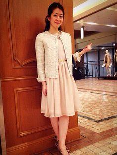 春にぴったりなふんわりスカートで* 入学式ワンピース スタイル ママ