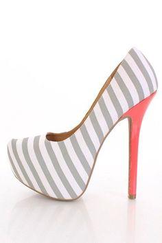 High Heels. Cute HeelsSexy HeelsPumps HeelsStilettosProm ShoesDress ShoesWedding  ShoesLooks LindosSchick. Light Grey Striped Fabric Pointy Toe Platform ... 23e83e29dee1