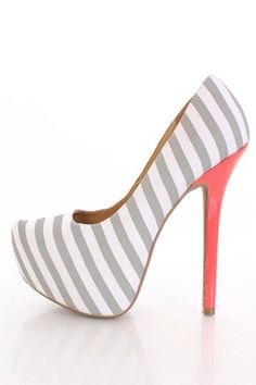 Light Grey Striped Fabric Pointy Toe Platform Pumps Heels @ Amiclubwear Heel Shoes online store sales:Stiletto Heel Shoes,High Heel Pumps,Womens High Heel Shoes,Prom Shoes,Summer Shoes,Spring Shoes,Spool Heel,Womens Dress Shoes,Prom Heels,Prom Pumps,High