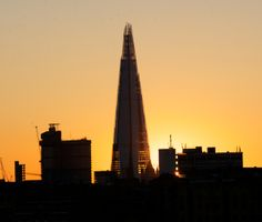 Spring sunset behind The Shard and Guy's Hospital