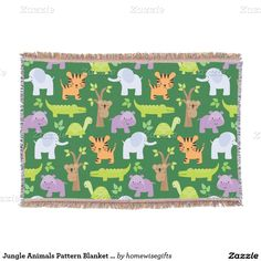 Perfect for the kids! Cute and colorful jungle animal throw blanket featuring elephants, tigers, hippos, and crocodiles.