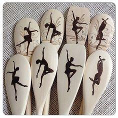 Custom Wood Burned Spoons, Graceful Dancers design, Wooden Mixing/Baking spoons, Dance instructor gift, Dancer gift, set of 4