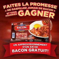 Simply pledge to and you could be one of 10 lucky winners to receive a year's supply of FREE There's also tons of great bacon gear to be won. What are you waiting for? Bacon, Cereal, Favorite Recipes, Fresh, Breakfast, Canada, Dinners, Waiting, Foods