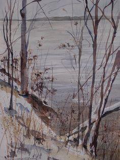 Burt Lake in Winter Painting