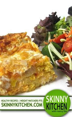 Skinny Mexican Style Chicken and Cornbread Casserole. It's a cinch to make and freezes great! Each serving has 323 calories, 8g fat & 8 Weight Watchers POINTS PLUS. http://www.skinnykitchen.com/recipes/skinny-mexican-style-chicken-and-cornbread-casserole/