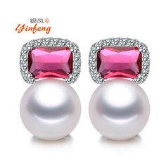[Yinfeng] 2017 Fashion red stone jewelry for women AAAA Top quality freshwater pearl earrings with Red crystal #Affiliate