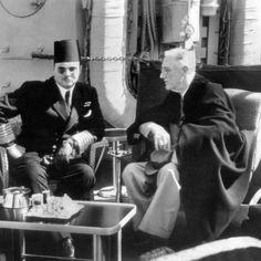 President Franklin Roosevelt with King Farouk of Egypt on US War Ship in Great Bitter Lake, Feb 20, 1945