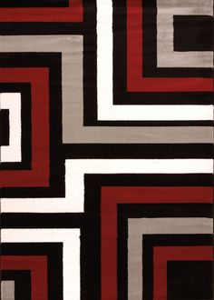 United Weavers of America Cristall Collection Blade Grey Area Rug, Red