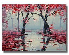 Bäume malen Bäume Landschaft Original Öl impressionistische