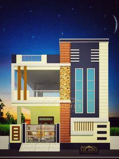 House Balcony Design, House Outside Design, Duplex House Design, House Front Design, Front Elevation Designs, House Elevation, 30x50 House Plans, Langa Voni, Hall Interior Design