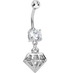 Crystalline Gem Diamond Shape Dangle Belly Ring | Body Candy Body Jewelry