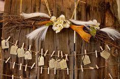 deco-mariage-champetre-étiquettes-américaines-arrangement-branchettes-fleurs-feuilles