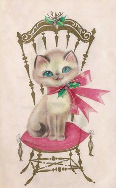 Christmas •~• vintage cat on chair greeting card