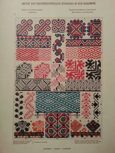 Ukrainian and Romanian embroidery of Bukovyna-Bucovina Creative Embroidery, Folk Embroidery, Cross Stitch Embroidery, Embroidery Patterns, Cross Stitch Geometric, Cross Stitch Borders, Cross Stitch Patterns, Loom Beading, Beading Patterns