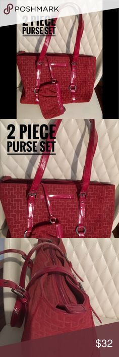 New! Two Piece Purse set. Red This set is new, never used. Measures 15 by 12 inches. Nice large purse but not too large. Bags