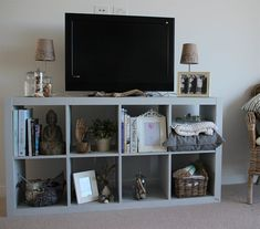 Great idea! Turn a KALLAX unit into a TV stand and a place to display travel mementos | In @meghan174's living room, Australia
