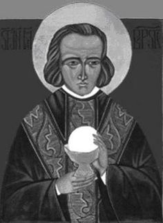 Saint John Mary Vianney taught his parishioners primarily by the witness of his life. It was from his example that they learned to pray, halting frequently before the tabernacle for a visit to Jesus. Cure, St John Vianney, Learning To Pray, Jean Marie, The Tabernacle, 4 August, Saint John, Catholic Saints, Prayer Cards