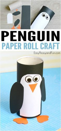 Paper Roll Penguin Craft Winter Crafts for Kids is part of Kids Crafts Ideas Paper Any penguin lovers around We're making this adorable paper roll penguin craft today you can use toilet paper - Kids Crafts, Winter Crafts For Kids, Toddler Crafts, Preschool Activities, Diy For Kids, Paper Craft For Kids, Craft Projects, Science Crafts, Craft Ideas