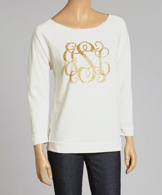 Look at this Ivory & Gold Glitter Monogram Raglan Tee - Women on #zulily today!