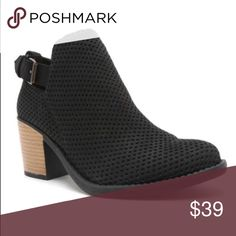 Black Textured Faux Suede Bootie Hottest style for Fall! Now available in black! This bootie offers style and comfort and is a stunning additional to your Fall Fashion! Features an almond toe front, adjustable ankle buckle and chunky stacked heel.  Heel Height: 2.5inch Shoes Ankle Boots & Booties