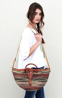 Stripe Straw Bag