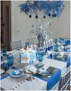 blue and silver centerpiece | ... to IKEA to find what's new and Hanukkah-blue for the holiday season