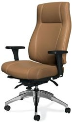 This leather office chair from the Global Total Office Triumph collection features a chrome base, adjustable arms, and choice of upholstery color. #ErgonomicOfficeChairs