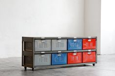 4 x 2 Reclaimed Locker Basket Unit Refinished In Natural Steel, Red, Blue and Grey