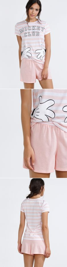 Short striped Mickey cotton pyjama