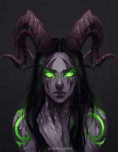 World of Warcraft Art Board ^^ // Blizzard // wow // // Digital // Geek // Night Elf Demon Hunter Fantasy Kunst, Dark Fantasy Art, Fantasy Girl, Fantasy Artwork, Dark Art, Final Fantasy, Arte Aries, Warcraft Art, Warcraft Legion