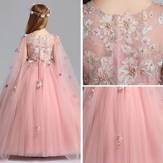 Chic / Beautiful Pearl Pink Flower Girl Dresses 2019 A-Line / Princess Scoop Neck Sleeveless Appliques Lace Flower Pearl Watteau Train Ruffle Wedding Party Dresses Pink Flower Girl Dresses, Baby Girl Party Dresses, Little Girl Dresses, Wedding Party Dresses, Baby Dress, Girls Dresses, Lace Flower Girls, Dress Anak, Baby Girl Dress Patterns