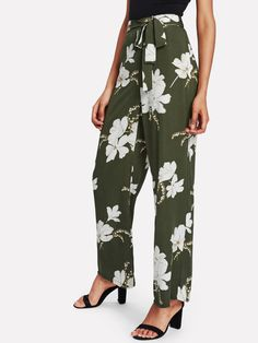 Pantalones anchos con estampado -Spanish SheIn(Sheinside) 3f783b8c967