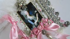 Marie Antoinette, Shabby Wedding Book, Lace Collage Book, French Journal, Shabby French Book, Mixed Media Art Journal