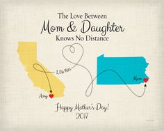 Mothers Day Gift Print, Long Distance Gift for Mothers Day, Mom and Daughter Canvas, Knows No Distance Gift for Mom, Gift Idea for Mom, Mothers Day Keepsake by KeepsakeMaps on Etsy for $25.95