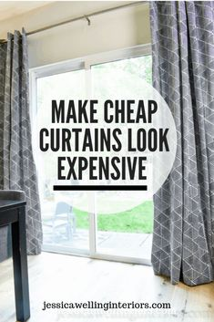 Make Cheap Curtains Look Expensive : This easy DIY curtain panels hack transforms cheap store-bought curtains into beautiful custom-looking decorative window treatments for your living room or bedroom. Cheap Window Treatments, Sliding Door Window Treatments, Window Treatments Living Room, Bedroom Window Coverings, Door Window Covering, Window Seats, Living Room Sliding Doors, Living Room Windows, Living Rooms