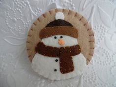 Primitive Snowman Ornament Felt Scarf And Hat by pennysbykristie