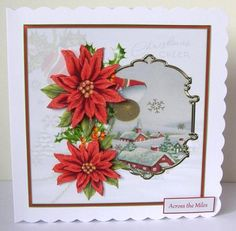 Red poinsettias 7x7 card with decoupage on Craftsuprint designed by Angela Wake - made by Margaret McCartney - I printed the design onto good quality photographic paper and cut it out. I scored and folded a 7 x 7 scalloped edged card. I attached the design to the card using double sided tape. I assembled the decoupage using thin foam tape. I added the greeting using thin foam tape. I added some glitter to the snow to complete this gorgeous card. - Now available for download!